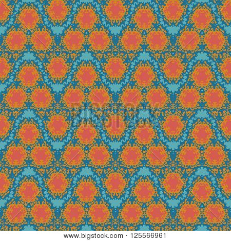 orange wave  squiggles seamless pattern on a gren blue background