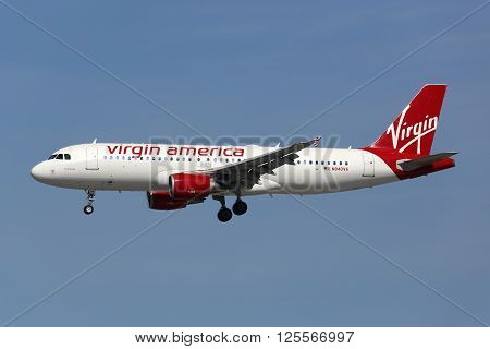 Virgin America Airbus A320 Airplane Los Angeles International Airport