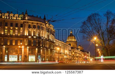 View of St. Petersburg. Saint Isaac's Cathedral from Palace Square in night. Admiralty prospect.