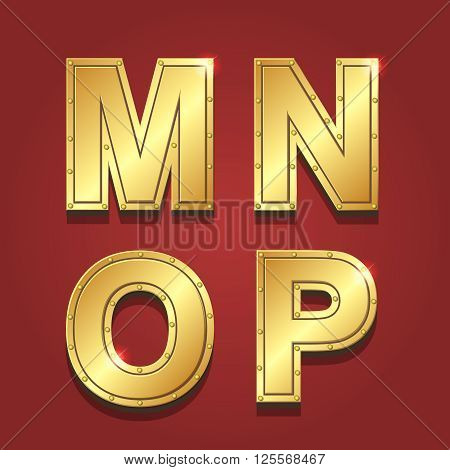 Gold letters alphabet font style. M N O P Vector illustration