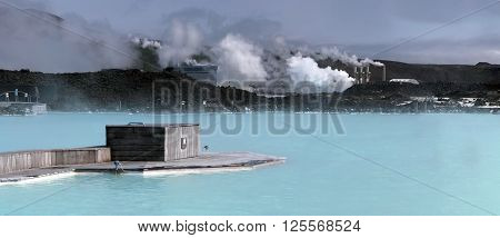 Bathing in The Blue Lagoon. Iceland. The thermal lake.