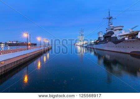 Baltic Sea harbor in Gdynia at night, Poland