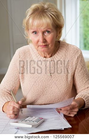 Concerned Senior Woman Reviewing Domestic Finances At Home