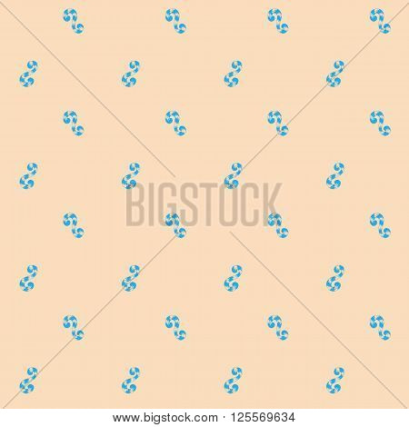 Seamless pattern of blue whorls curlicues on pink backgrownd