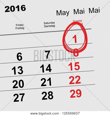 May 1 2016 Orthodox Easter. Calendar egg. Illustration in vector format