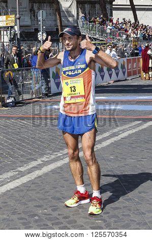 Rome Italy - April 10 2016: Giorgio Calcaterra pose at the Marathon finish line in Rome in 2016.