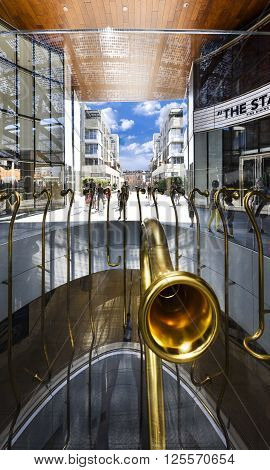 MILAN LOMBARDIE ITALY - AUGUST 30 2015 : Porta Nuova the Golden Trumpets Installation by Garutti