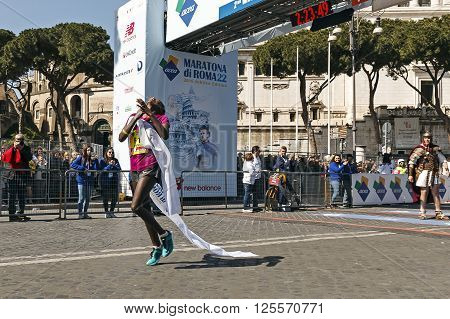 Rome Italy - April 10 2016: Rahma Tusa during Rome Marathon 2016. The winners of the marathon in Rome 2016 Kenyan Amos Kipruto was the first to cross the finish line with a time of 2h08'12
