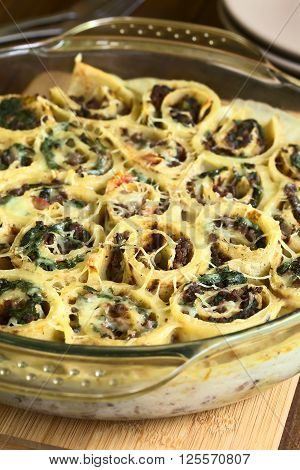 Baked crepe rolls casserole filled with spinach tomato and mincemeat with cream sauce and grated cheese on top served in glass dish photographed with natural light (Selective Focus Focus one third into the casserole)