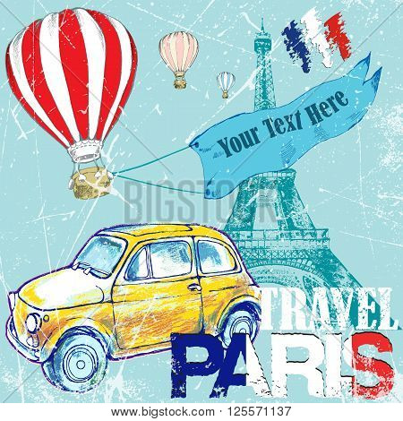 hand drawn color pen?il funny yellow car travel to Paris air ballon .vector illustration