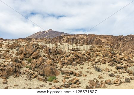Cumulus clouds filled the morning skies over the rocky desert at the foot of the volcano Teide on Tenerife.