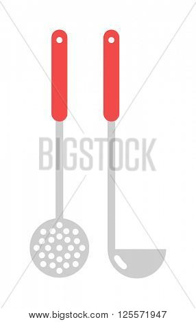 Kitchen ladle cooking home culinary silver equipment flat vector illustration.