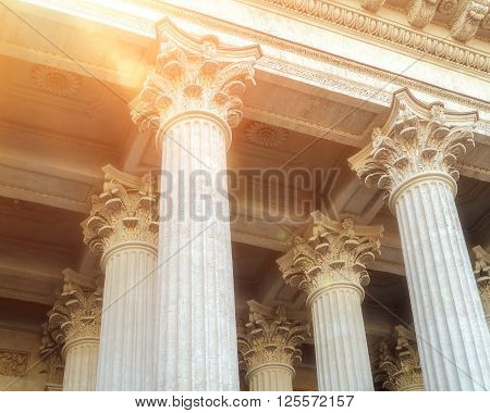 Closeup view of colonnade and the ceiling of Kazan Cathedral in Saint-Petersburg Russia. Architectural landscape with soft sunny light.