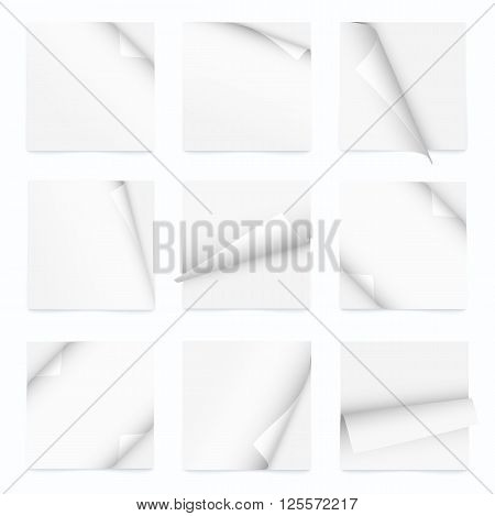 white set of note paper with curled corner