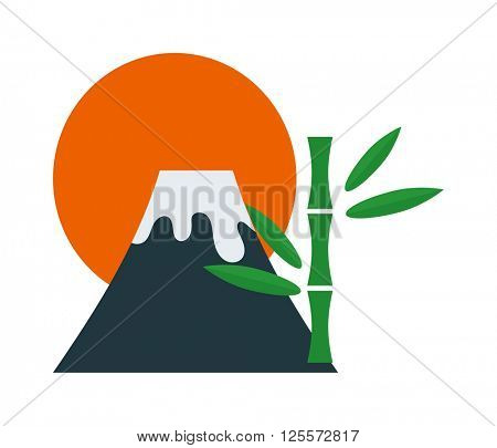 Volcano flowing with hot lava mountain crater danger smoke nature eruption vector illustration.