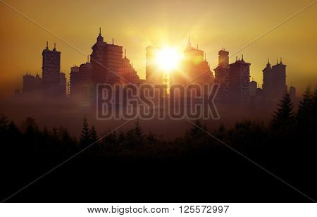 Conceptual City Skyline Illustration. 3D City Skyline During Sunset. City Skyline Abstract Background.
