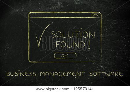 Pop-up With Text Solution Found, Caption Business Management Software