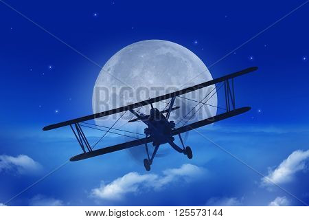 Full Moon Airplane Getaway Abstract Illustration. Flying Vintage Airplane Above the Clouds At Night. 3D Illustration.