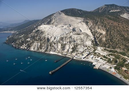 open quarries for the extraction of pumice stones in LIpari, eolie island, sicily, italy