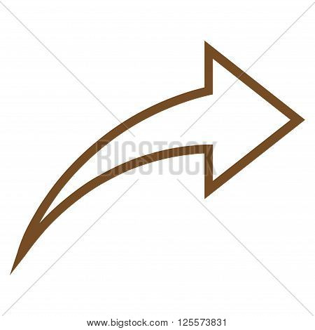 Redo vector icon. Style is stroke icon symbol, brown color, white background.
