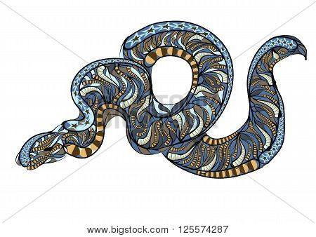 ethnic royal python. abstract serpent on gray background