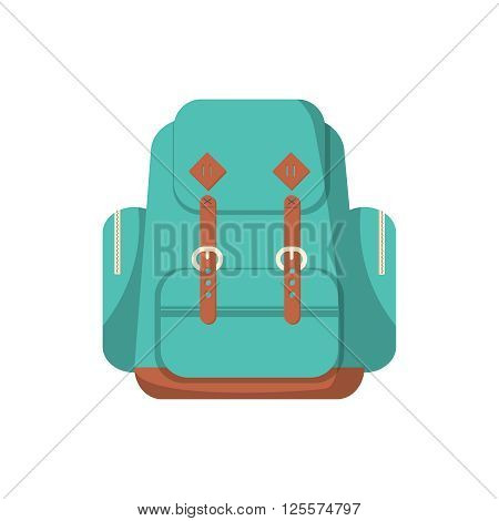 School backpack in a flat style. Kids backpack on white background.
