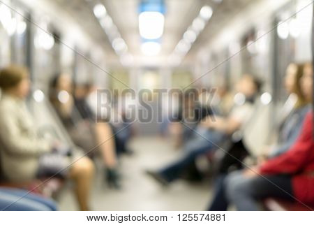 De Focused Background Of People Traveling On The Subway