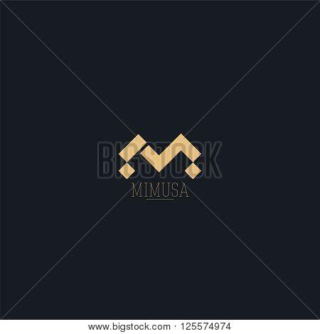 Abstract monogram elegant helmet logo icon vector design. Universal creative premium letter M initials ornate signature symbol. Graceful vector sign.