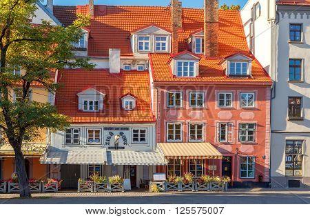 Riga, Latvia - 15 October, 2015: Famous Latvian Blue Cow restaurant in the area Liv. A popular tourist destination.
