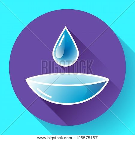 Contact lense with water drop icon. Flat design style