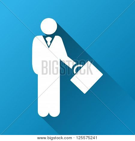 Businessman vector toolbar icon for software design. Style is a white symbol on a square blue background with gradient long shadow.