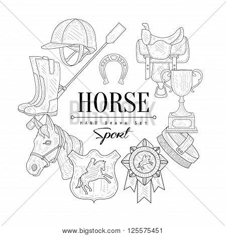 Horse Related  Vintage Vector Hand Drawn Design Card