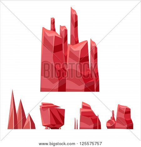 Cartoon Weird Red Rock Set Vector Isolated Landscape Elements For Video Game Design