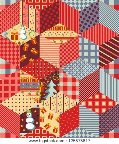 Seamless patchwork pattern for Christmas New year background. Vector illustration of quilt.