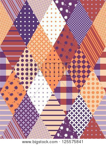 Vintage seamless patchwork pattern. Vector illustration of quilting.