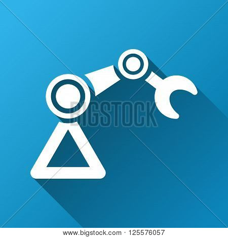 Industrial Manipulator vector toolbar icon for software design. Style is a white symbol on a square blue background with gradient long shadow.