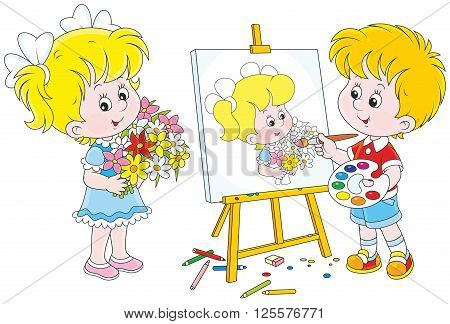 Vector illustration of a boy drawing a portrait of a girl with flowers