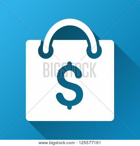 Shopping Bag vector toolbar icon for software design. Style is a white symbol on a square blue background with gradient long shadow.