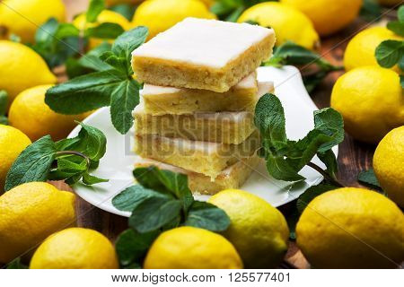 Authentic cake, lots of fresh yellow lemons and mint. Morning atmospheric lighting, trendy selective soft focus. Preparing to design creative menus.