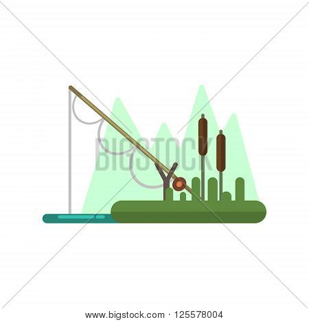 Fishing Rod Dipped In Water Primitive Style Graphic Colorful Flat Vector Image On White Background
