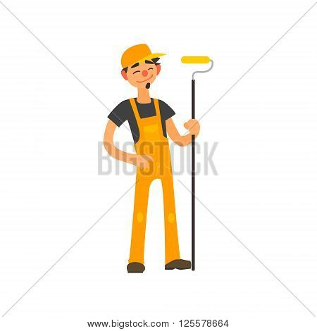 Profession Painter Primitive Cartoon Style Isolated Flat Vector Illustration On White Background