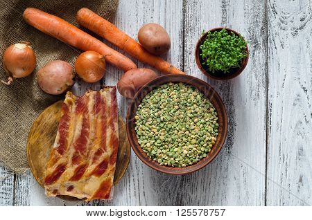 Dried peas and ingredients for pea soup recipe