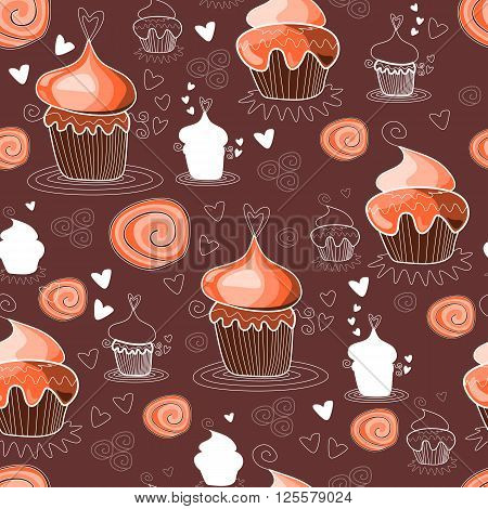 Seamless pattern with sweet cupcakes on chocolate background. Vector illustration.