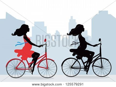 Silhouettes of pregnant women on the bike . City background. Illustration in vector format. Horizontal.