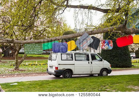 STRASBOURG FRANCE - APR 9 2016: Messages on tree at the 'Nuit Debout' or 'Standing night' movement at the Place de la Republique in Strasbourg