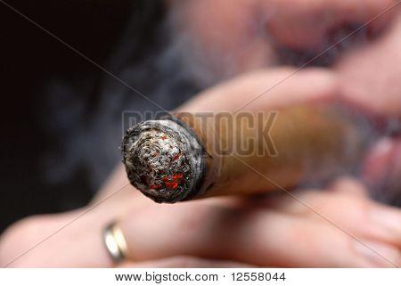 smoking of a cigar