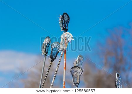 Many lacrosse sticks being held up in the air