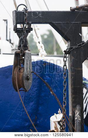 Blocks and rigging at the old ship closeup