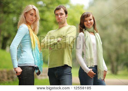 Man Between Two Women