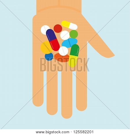 Stylized hand holding a variety of pills,tablets and capsules that might be narcotics or prescribed drugs